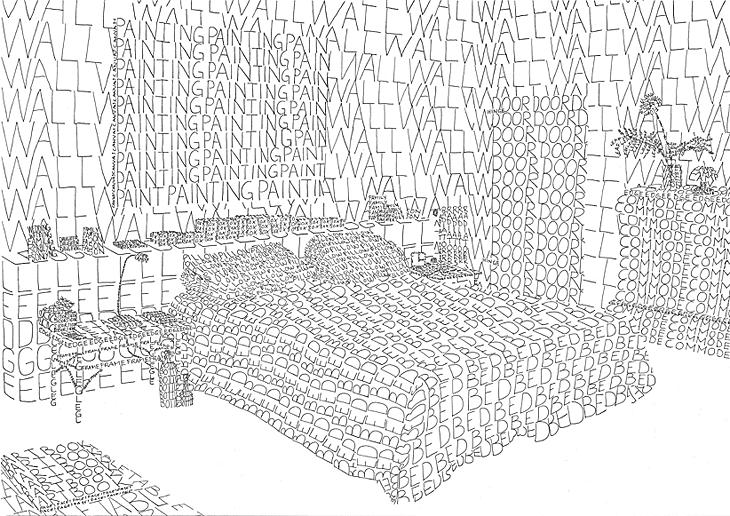 Bedroom, ink drawing 102 x 72 cm