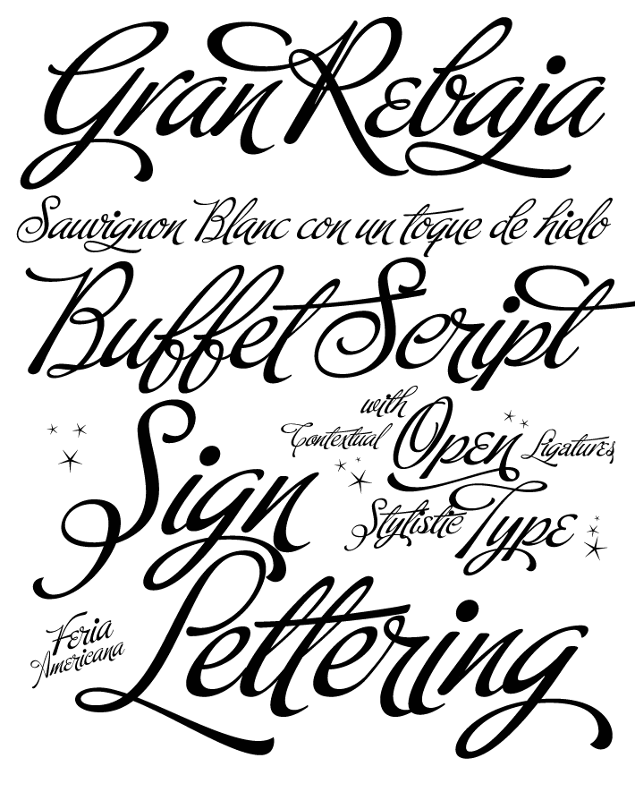 Buffet Script is based on fantastic calligraphy by Alf Becker. Designers: Alf Becker, Alejandro Paul.