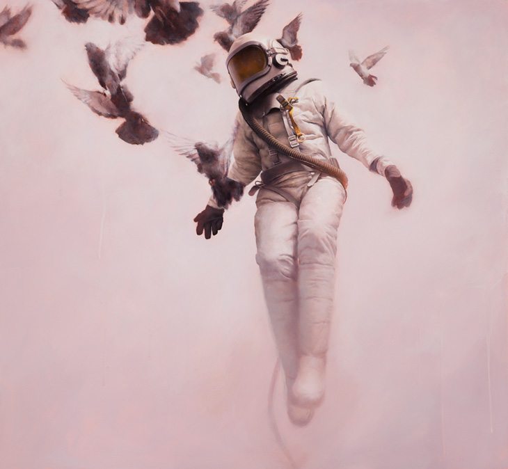 The White Cosmonaut / Oil on Board - Jeremy Geddes