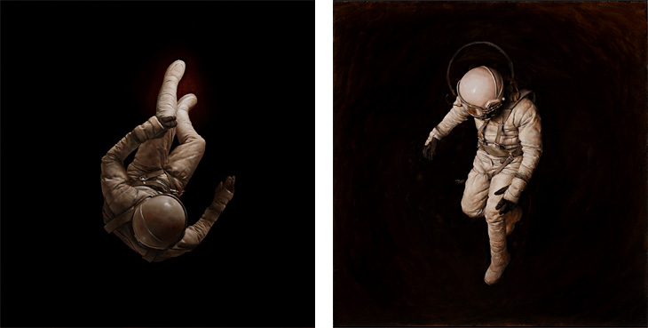 Cosmonaut 4 & 1 / Oil on Board - Jeremy Geddes