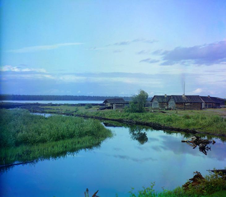 At the river Kumsa - 1915 by Prokudin Gorsky