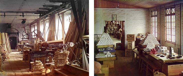 Столярный цех для выделки ножен / Joiner's shop for dressing sheath and Развесочное отделение (Чаква) / Weighing office (Chakva) by Prokudin Gorsky
