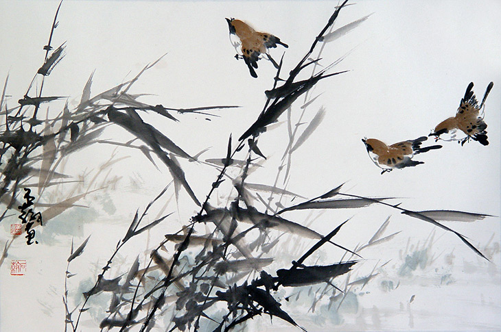 Birds Flying Through Bamboo by Shr Han