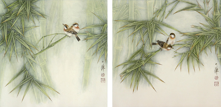Birds and Bamboo by Lou Dahua