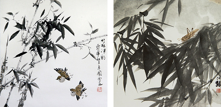 Birds and Bamboo by Yu Yen Kou (left) and Bamboo by Ren Tao (right)