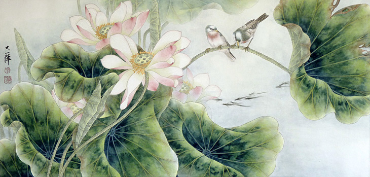 Birds and Lotus by Lou Dahua