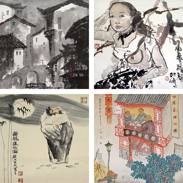City Bridge by Tan Wei Chung (top left), Enjoying the Quietness by Wang Shiao Pong (top right), Zhong Kui at Night by Long Shau Yen (bottom left) and Old Shanghai Restaurant by Gao Wengang (bottom right)