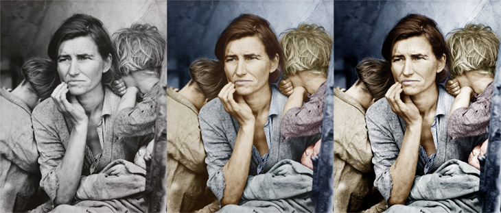 Migrant Mother – colorized and enhanced in Photoshop