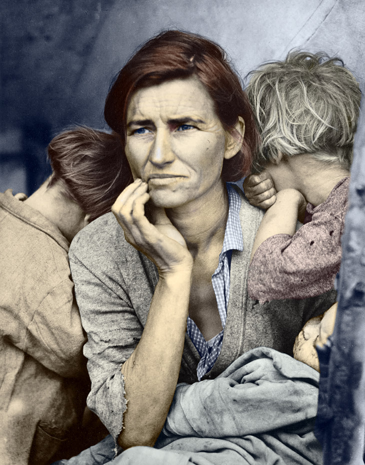 Migrant Mother - after color correction in Photoshop